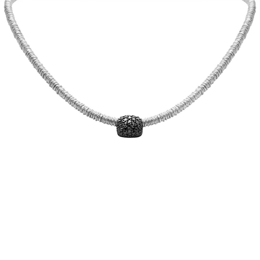 Collana in oro bianco con diamanti neri - ROBERTO DEMEGLIO