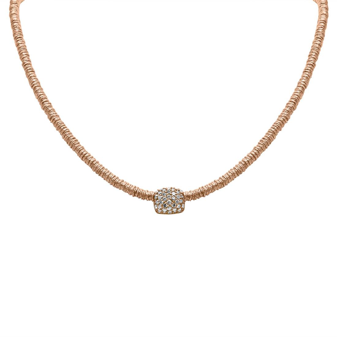 Collana in oro rosa con diamanti brown - ROBERTO DEMEGLIO