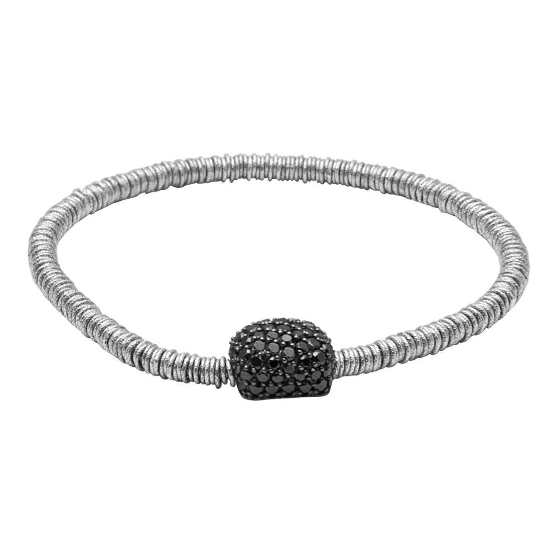 Bracciale elastico in oro bianco con diamanti neri - ROBERTO DEMEGLIO