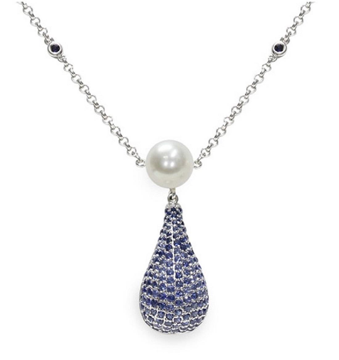 Collana con zaffiri e perla  - MAYUMI