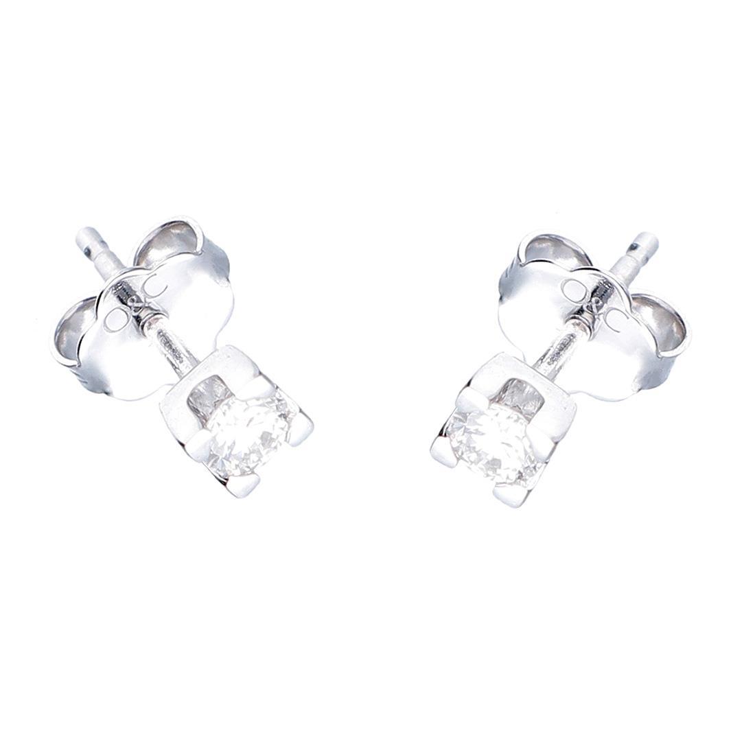 Orecchini punto luce in oro bianco con diamanti ct. 0,10 - ALFIERI & ST. JOHN