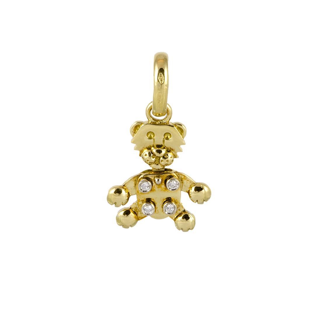 Pendente in oro giallo a forma di leoncino con diamanti ct 0,04, dimensione 2 cm - POMELLATO