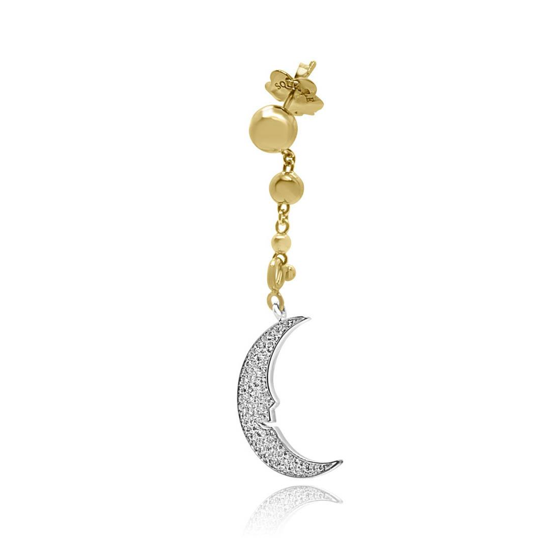 Orecchino in oro bianco e giallo con pendente a forma di luna - PASQUALE BRUNI