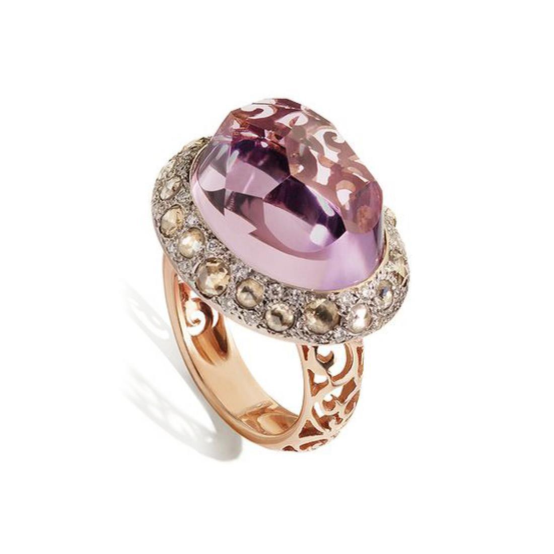 Anello con diamanti e ametista - POMELLATO