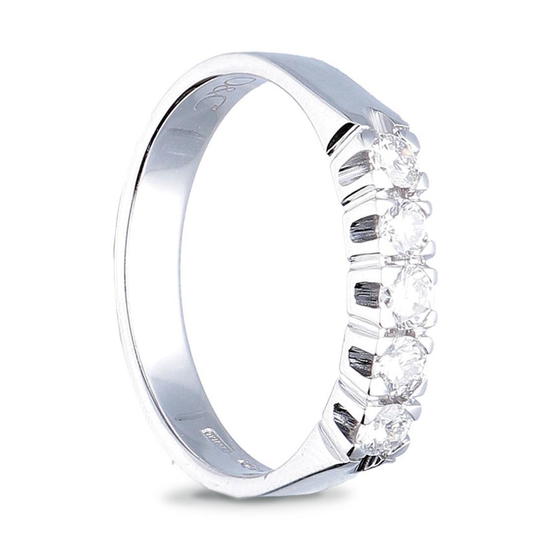 Anello veretta 5 pietre, diamanti ct. 0,25 - ORO&CO