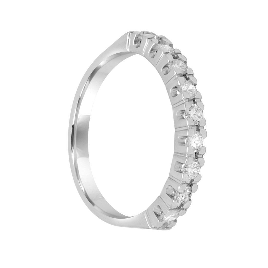 Anello veretta 9 pietre, diamanti ct. 0,50 - ORO&CO
