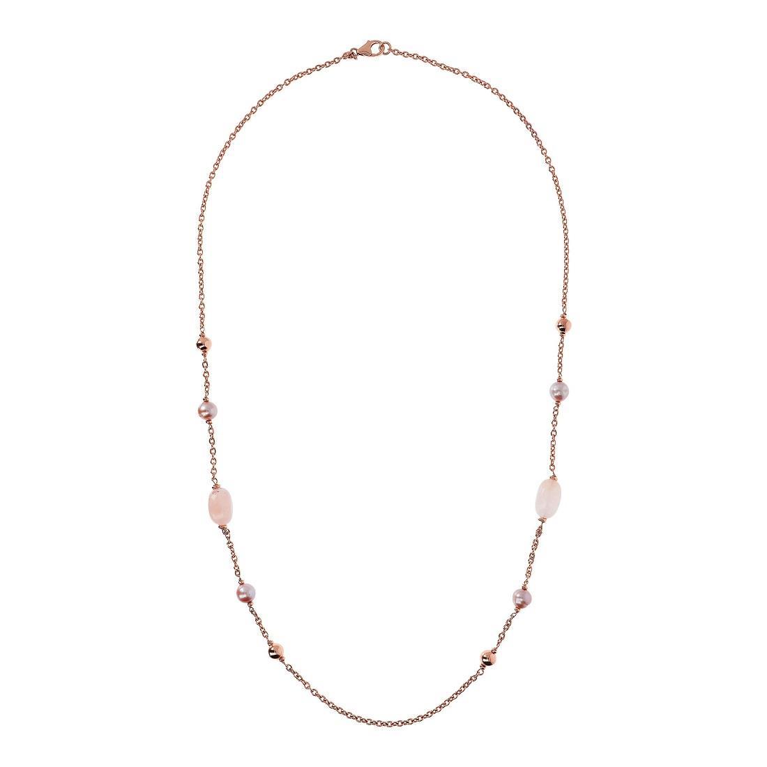 Collana con quarzo rosa e perle - BRONZALLURE