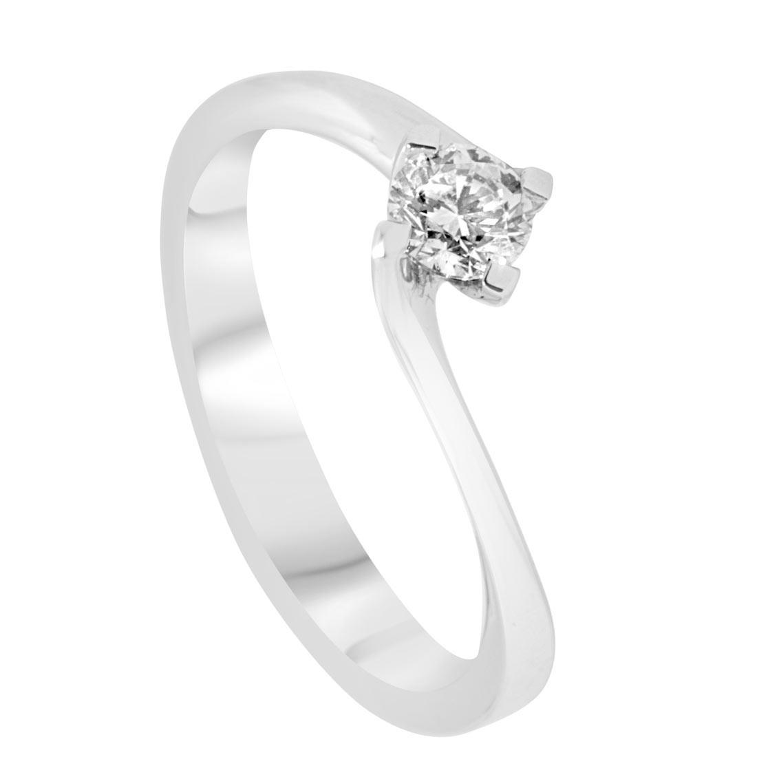 Anello solitario in oro bianco 4 griffes con diamante 0,25 ct mis 14 - ORO&CO