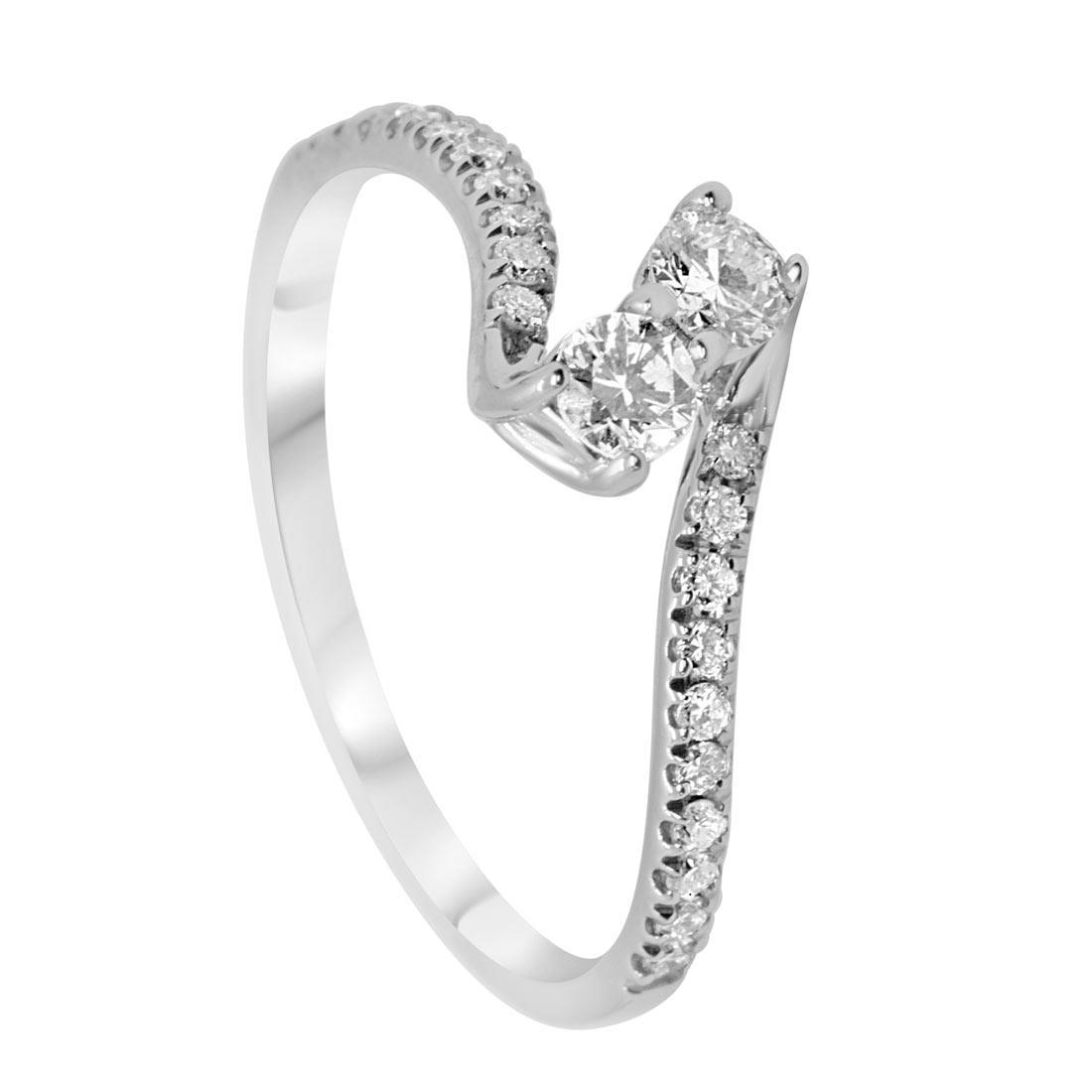 Anello contrariè in oro bianco con diamanti 0,41 ct mis 15 - ORO&CO