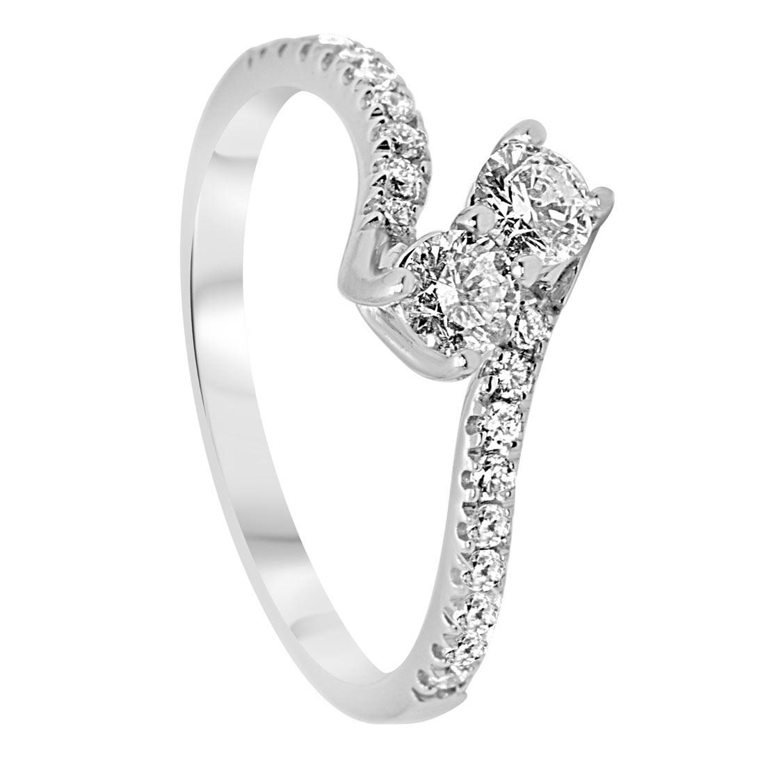 Anello contrariè in oro bianco con diamanti 0,60 ct mis 14 - ORO&CO