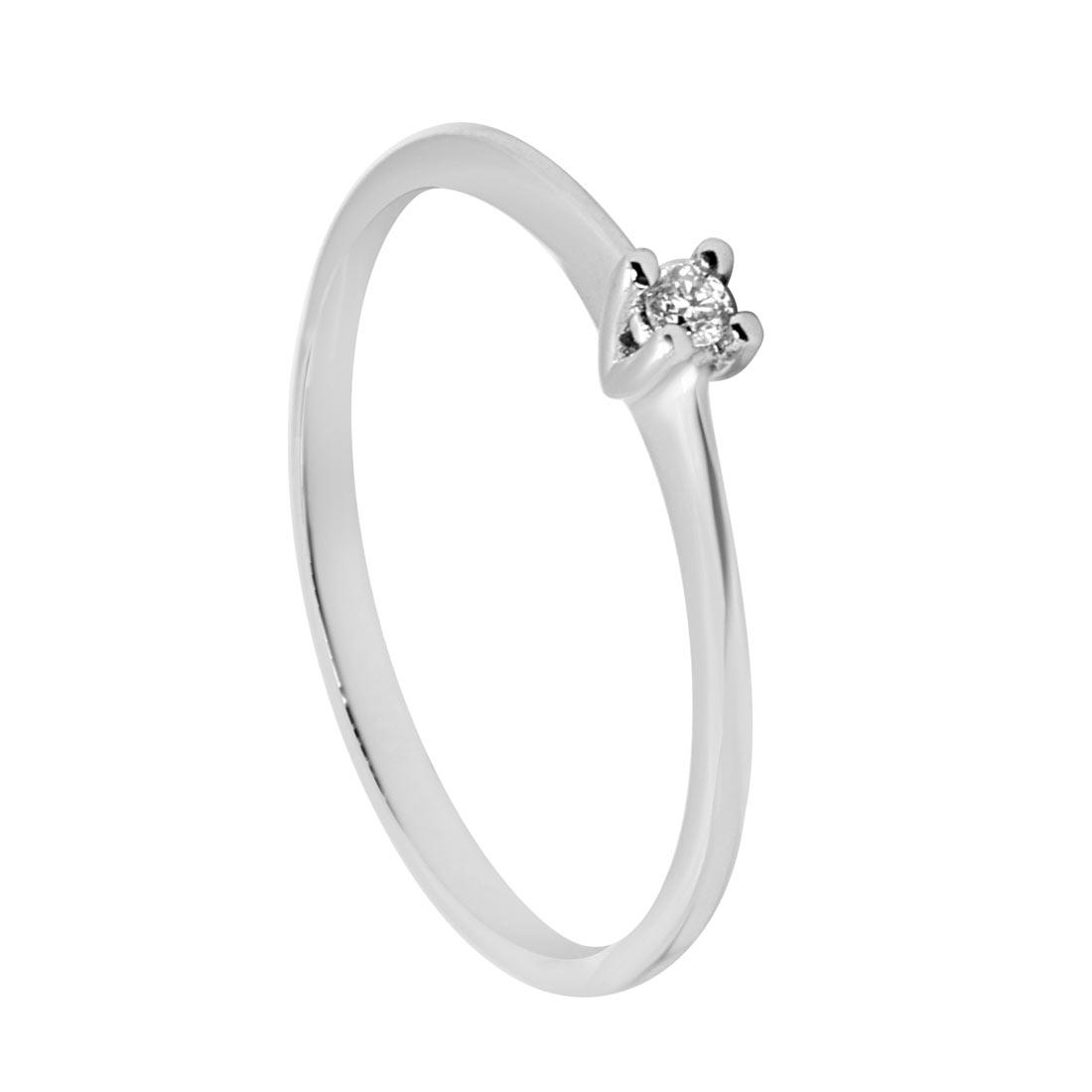 vendita calda online 41869 77d4c Anello solitario in oro bianco con diamante 0,03 ct mis 13