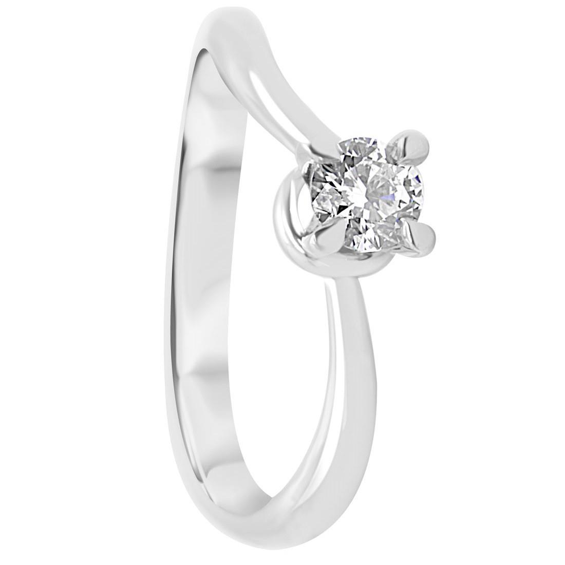 Anello solitario in oro bianco con diamante 0,30 ct mis 15 - ORO&CO