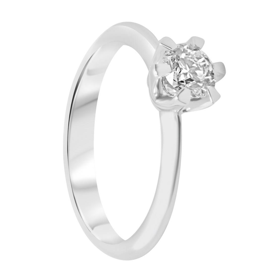 Anello solitario in oro bianco con diamante 0,50 ct mis 14 - ORO&CO