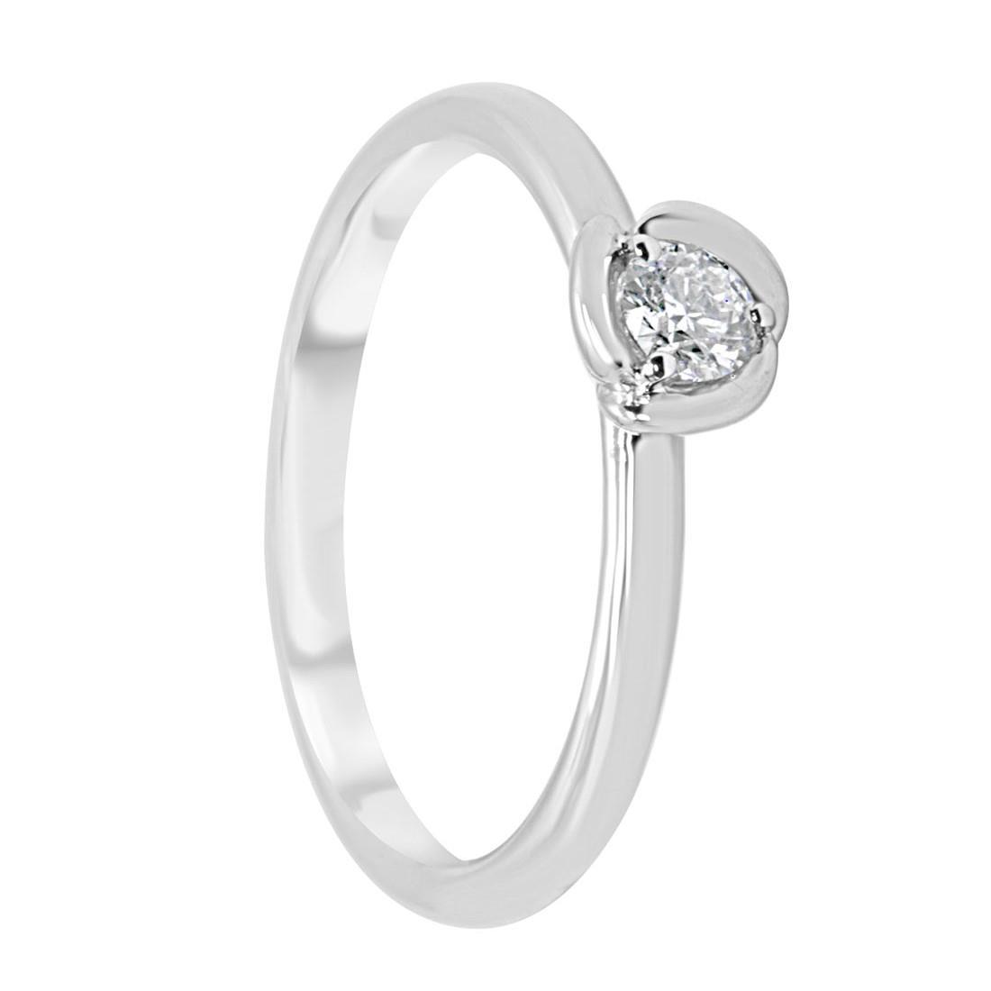Anello solitario in oro bianco con diamante 0,15 ct mis 14 - ORO&CO