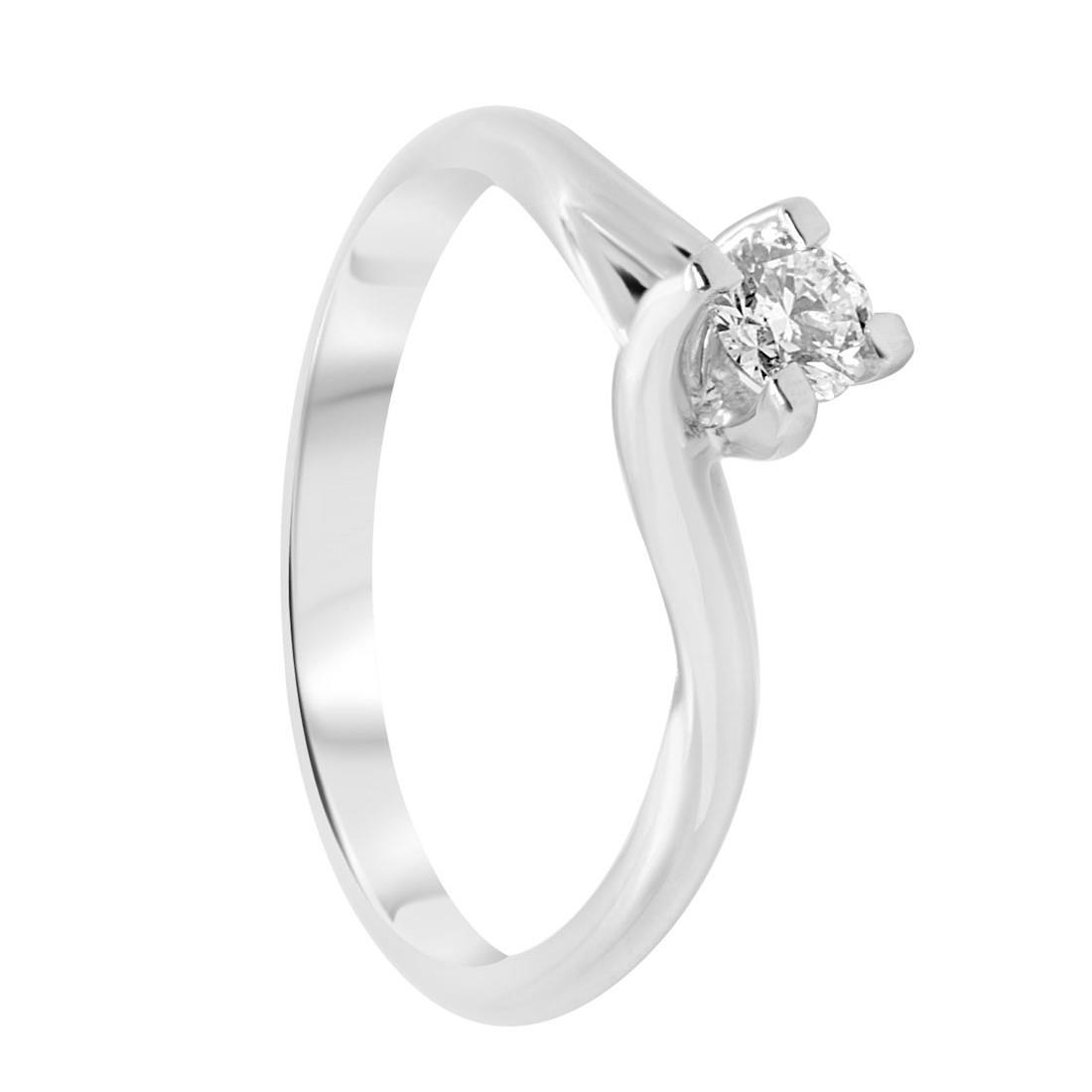 Anello solitario in oro bianco con diamante 0,24 ct mis 15 - ORO&CO
