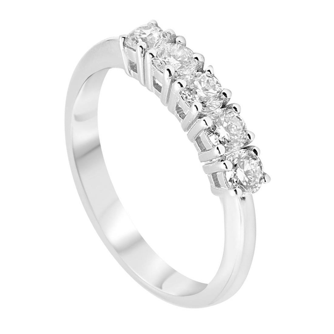 Anello veretta in oro bianco con diamanti 0,65 ct mis 14 - ORO&CO