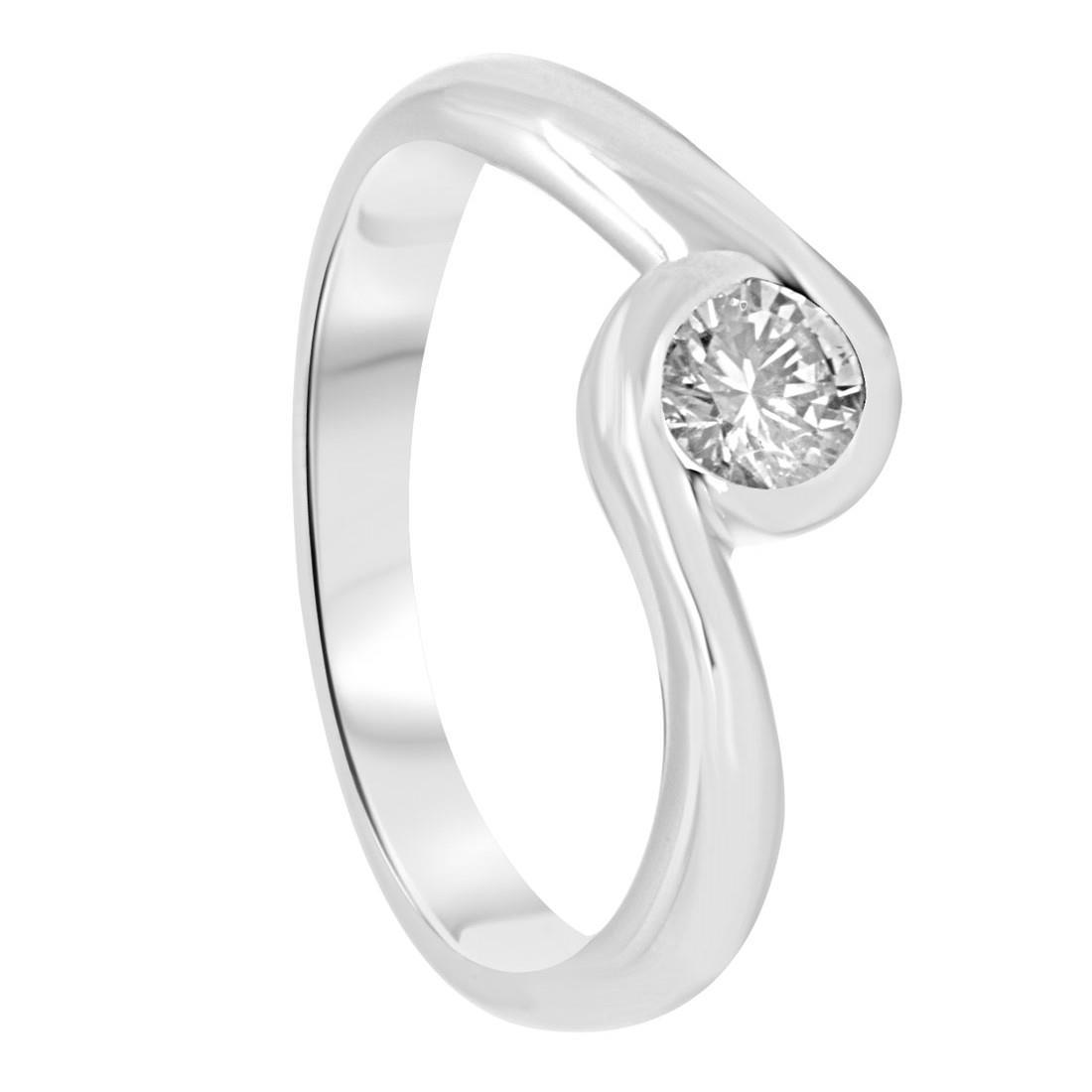 Anello solitario in oro bianco e diamante 0,30 ct mis 13 - ORO&CO