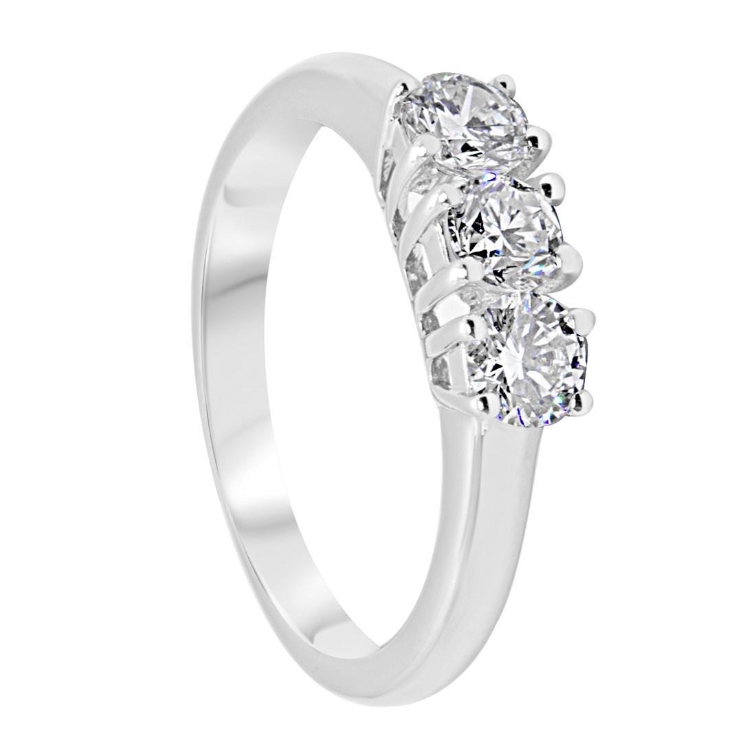 Anello trilogy in oro bianco con diamanti 0,80 ct mis 12 - ORO&CO