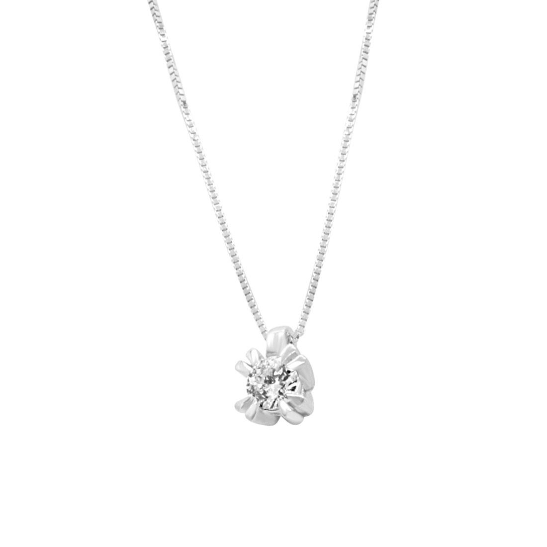 Collier punto luce in oro bianco e diamante 0,15 ct  - ORO&CO