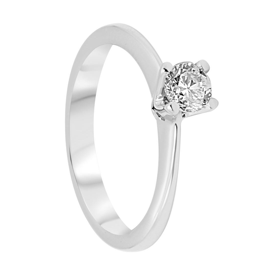 Anello solitario in oro bianco con diamanti 0,36 ct mis 13 - ALFIERI & ST. JOHN