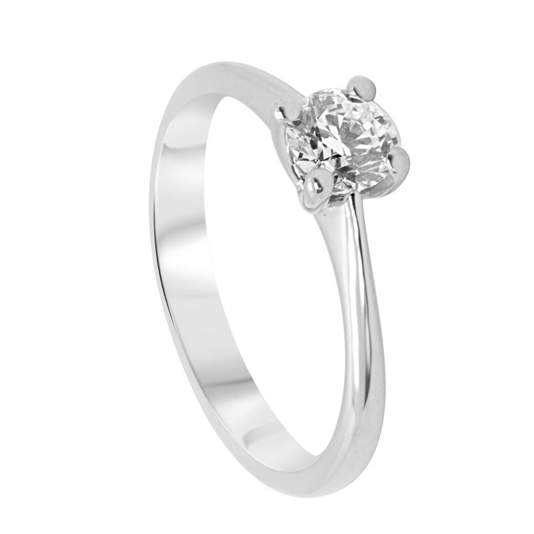 Anello solitario in oro bianco con diamante 0,50 ct mis 15 - ALFIERI & ST. JOHN