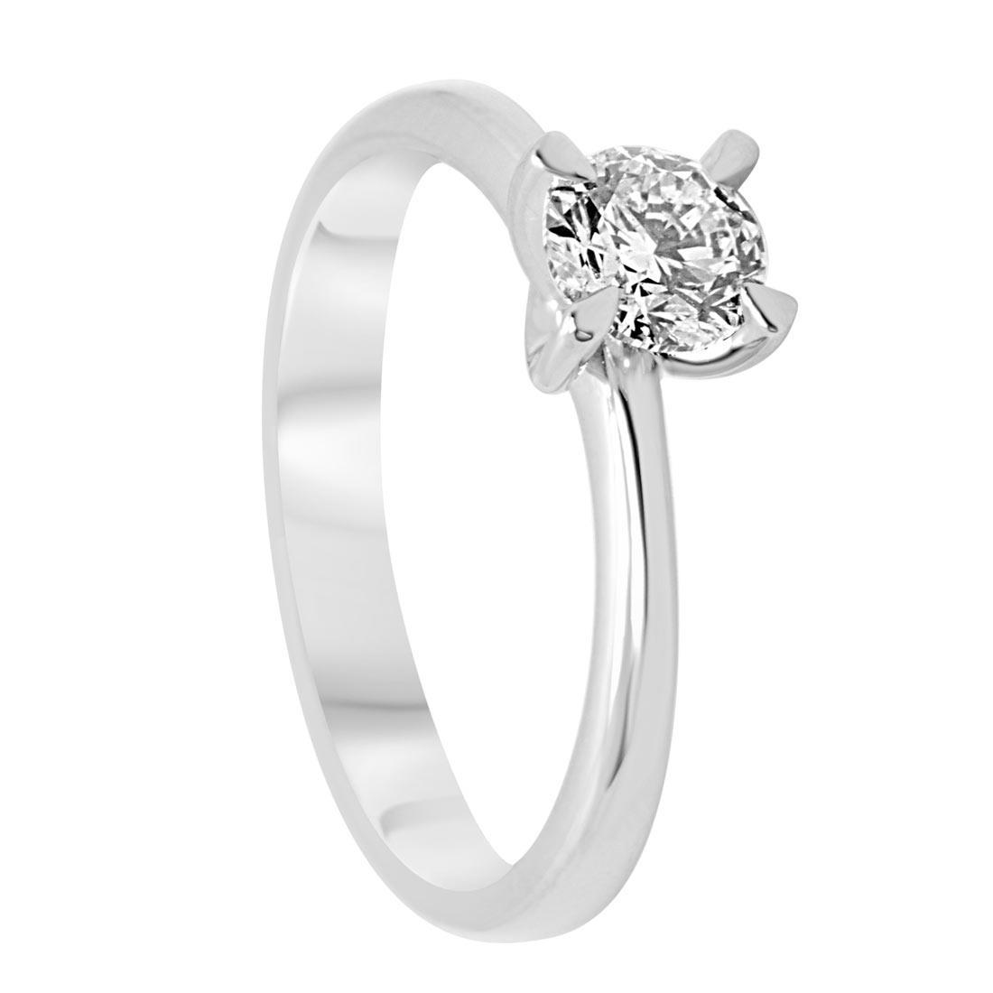Anello solitario in oro bianco con diamante 0,50 ct mis 14 - ALFIERI & ST. JOHN