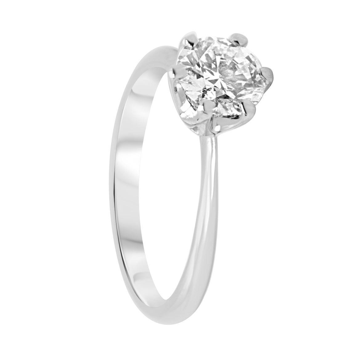 Anello solitario in oro bianco con diamante 1,00 ct mis 14 - ALFIERI & ST. JOHN
