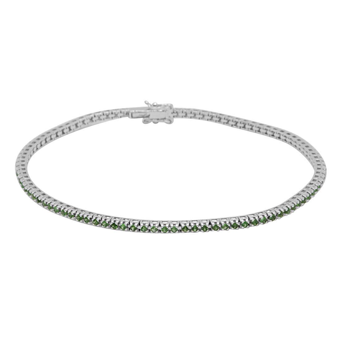 Bracciale tennis in oro bianco 9kt con tsavorite mis 18 cm - ORO&CO