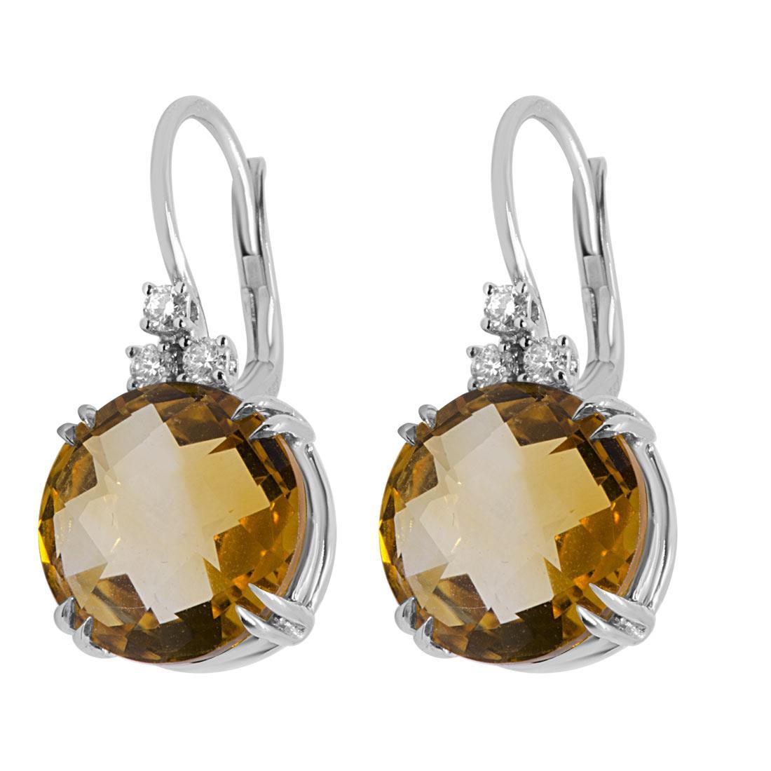 Orecchini in oro bianco e diamanti con pietra semipreziosa - ALFIERI & ST. JOHN