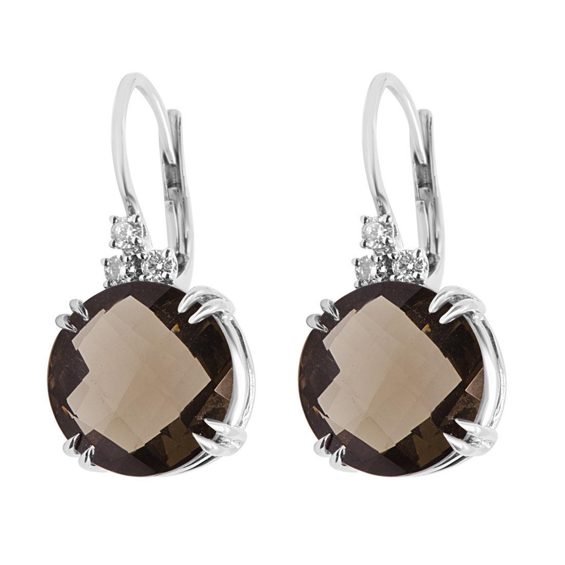Orecchini in oro bianco con diamanti e pietra semipreziosa - ALFIERI & ST. JOHN