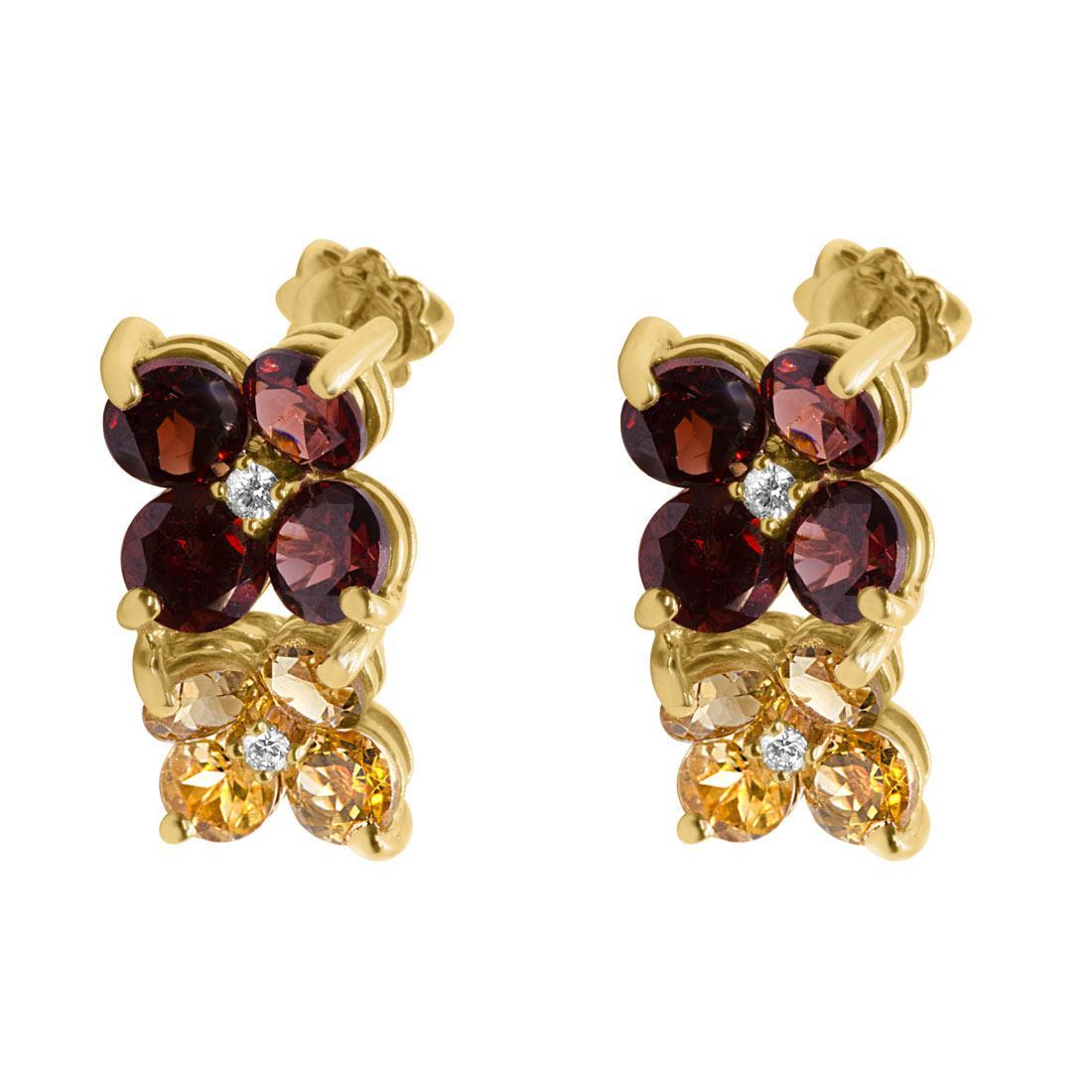 Orecchini in oro giallo, design a fiori con diamanti e pietre semipreziose colorate - ALFIERI & ST. JOHN