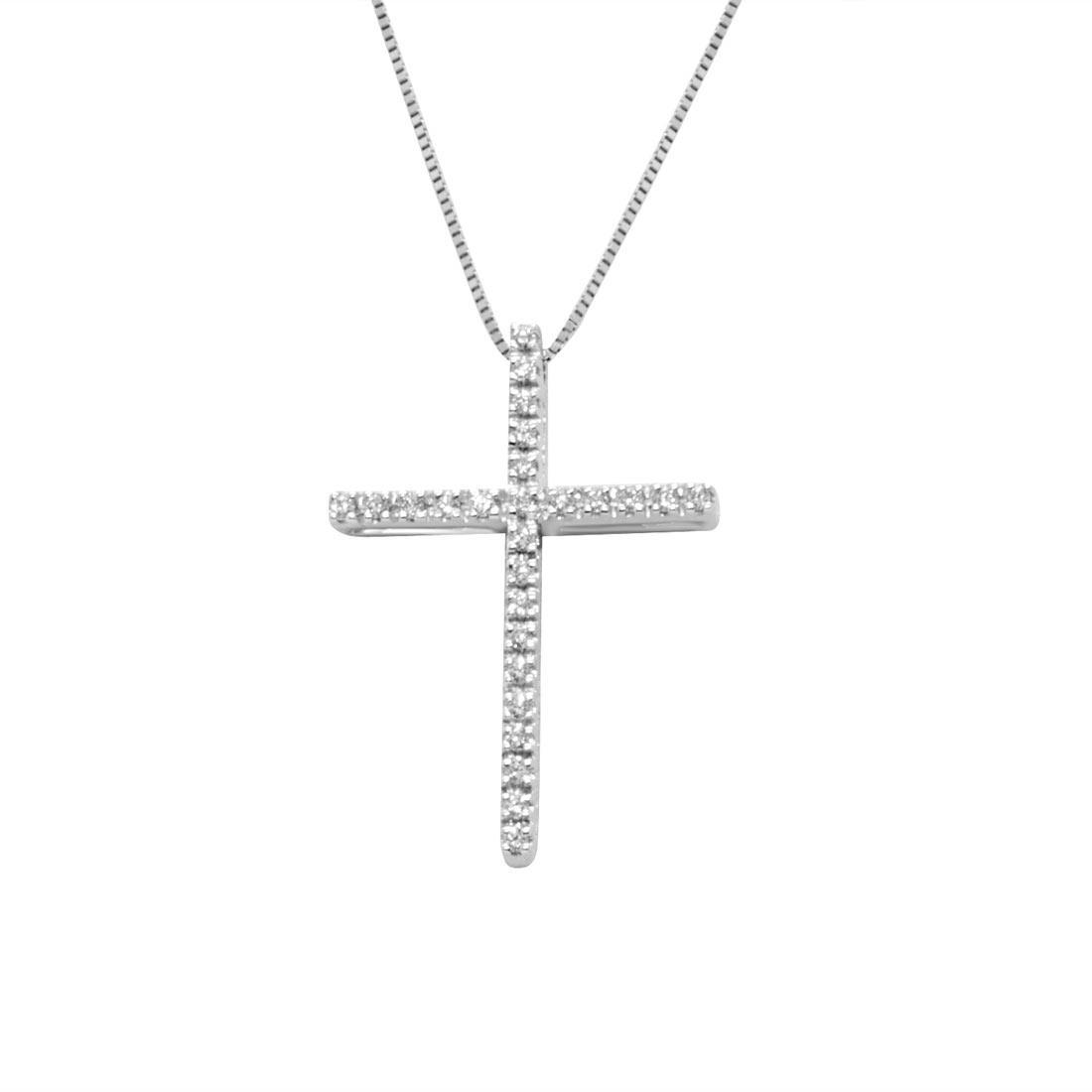 Collana in oro bianco con croce di diamanti 0,16 ct - ALFIERI ST JOHN