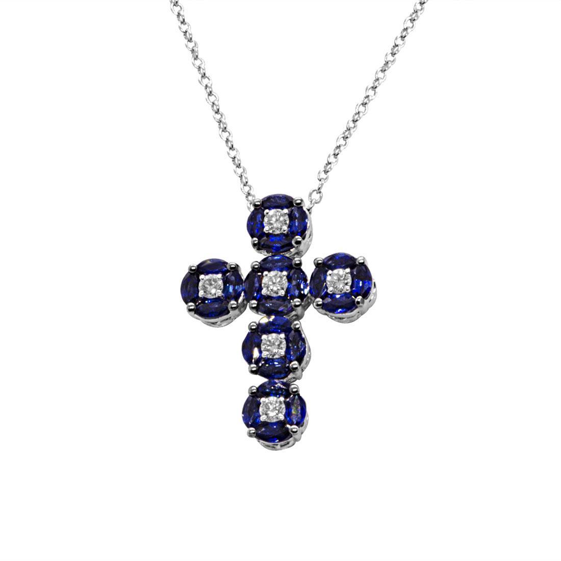 Collana in oro bianco a croce in diamanti e zaffiri  - ALFIERI ST JOHN