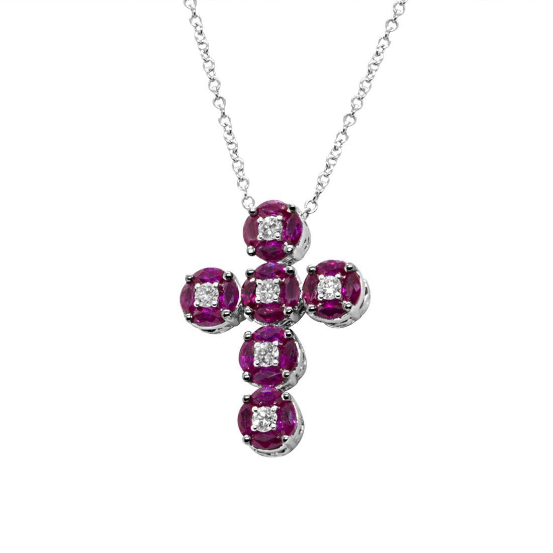 Collana in oro bianco a croce in diamanti e rubini - ALFIERI & ST. JOHN