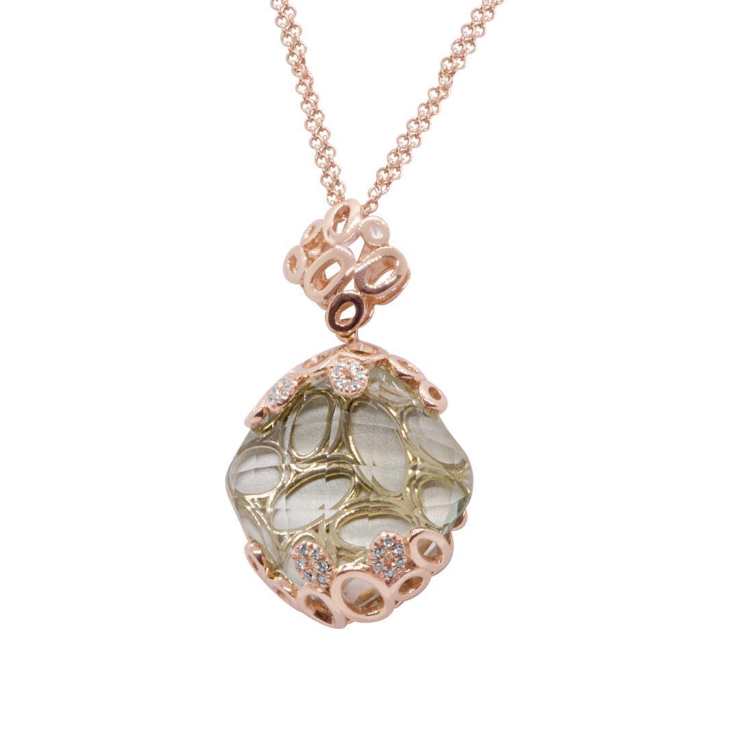Collana in oro rosa con pietra semipreziosa e diamanti  - ALFIERI & ST. JOHN