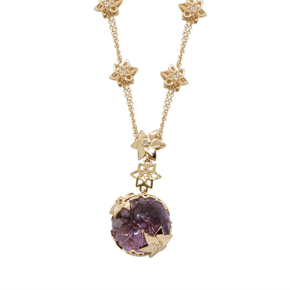 Collana in oro giallo con pietra semipreziosa e diamanti  - ALFIERI & ST. JOHN