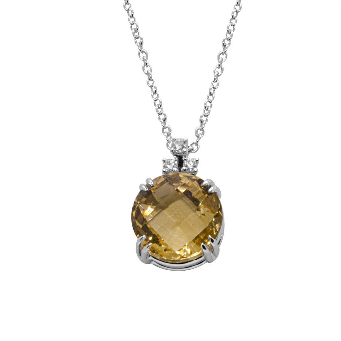 Collana in oro bianco con pietra semipreziosa e diamanti - ALFIERI & ST. JOHN