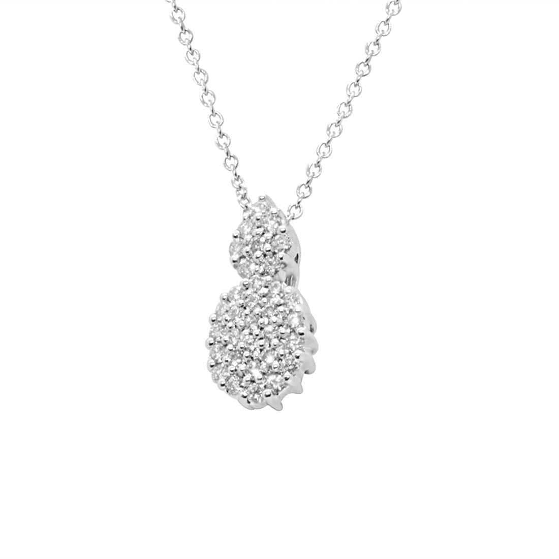 collana in oro bianco con pendente in diamanti ct 0.48 - ALFIERI & ST. JOHN