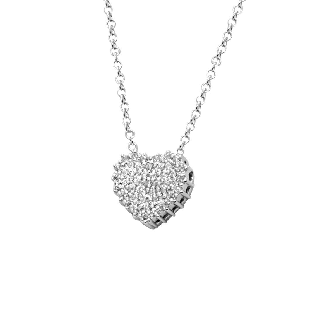 Collana in oro bianco con cuore in diamanti - ALFIERI & ST. JOHN