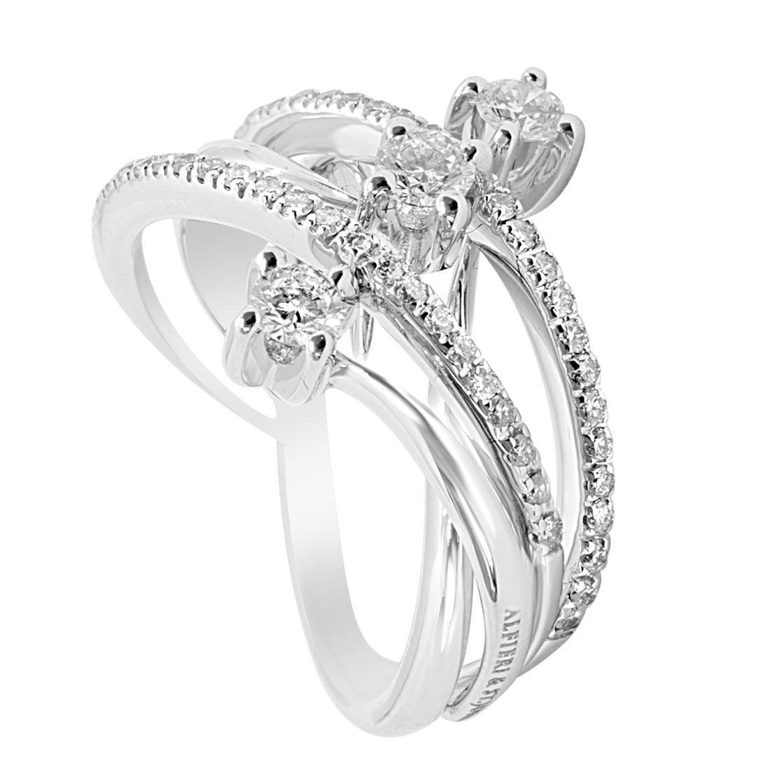 Anello in oro bianco con diamanti 0,81 ct mis 14 - ALFIERI & ST. JOHN
