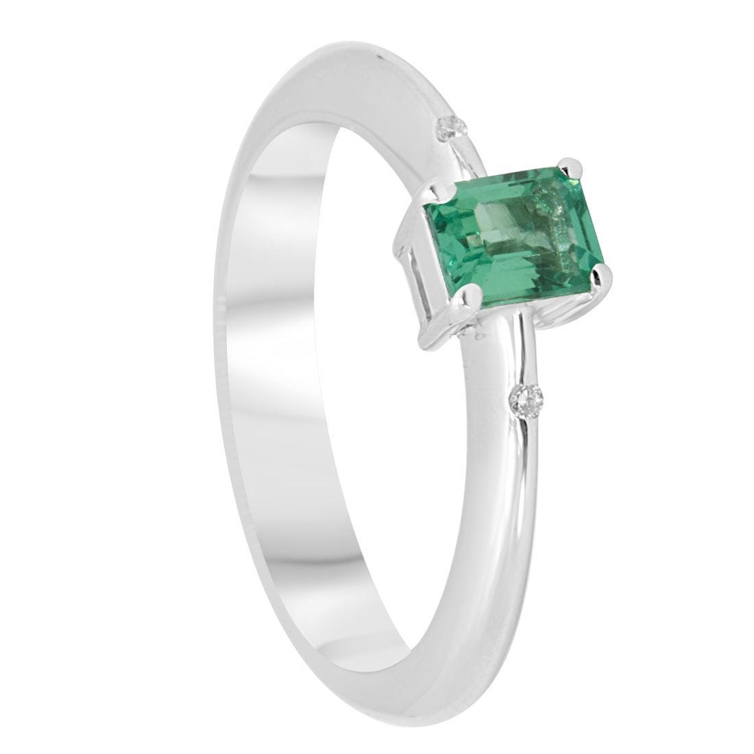 Anello in oro bianco con smeraldo e diamanti mis 12 - ORO&CO