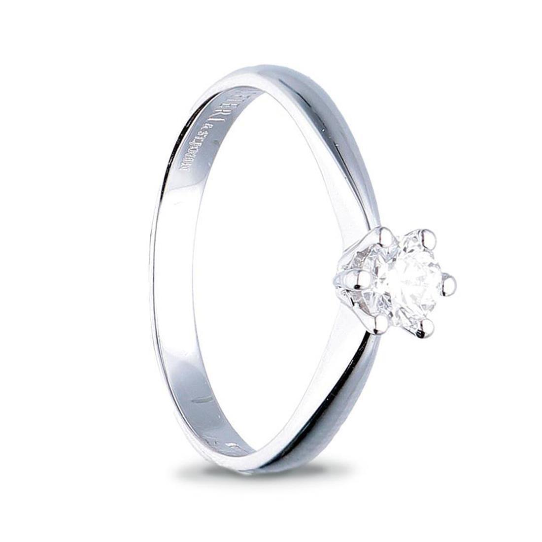 Anello solitario in oro bianco con diamante ct. 0,50 - ALFIERI & ST. JOHN