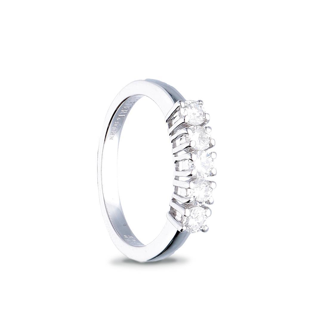 Anello veretta 5 pietre, con diamanti ct. 0,75 - ALFIERI & ST. JOHN