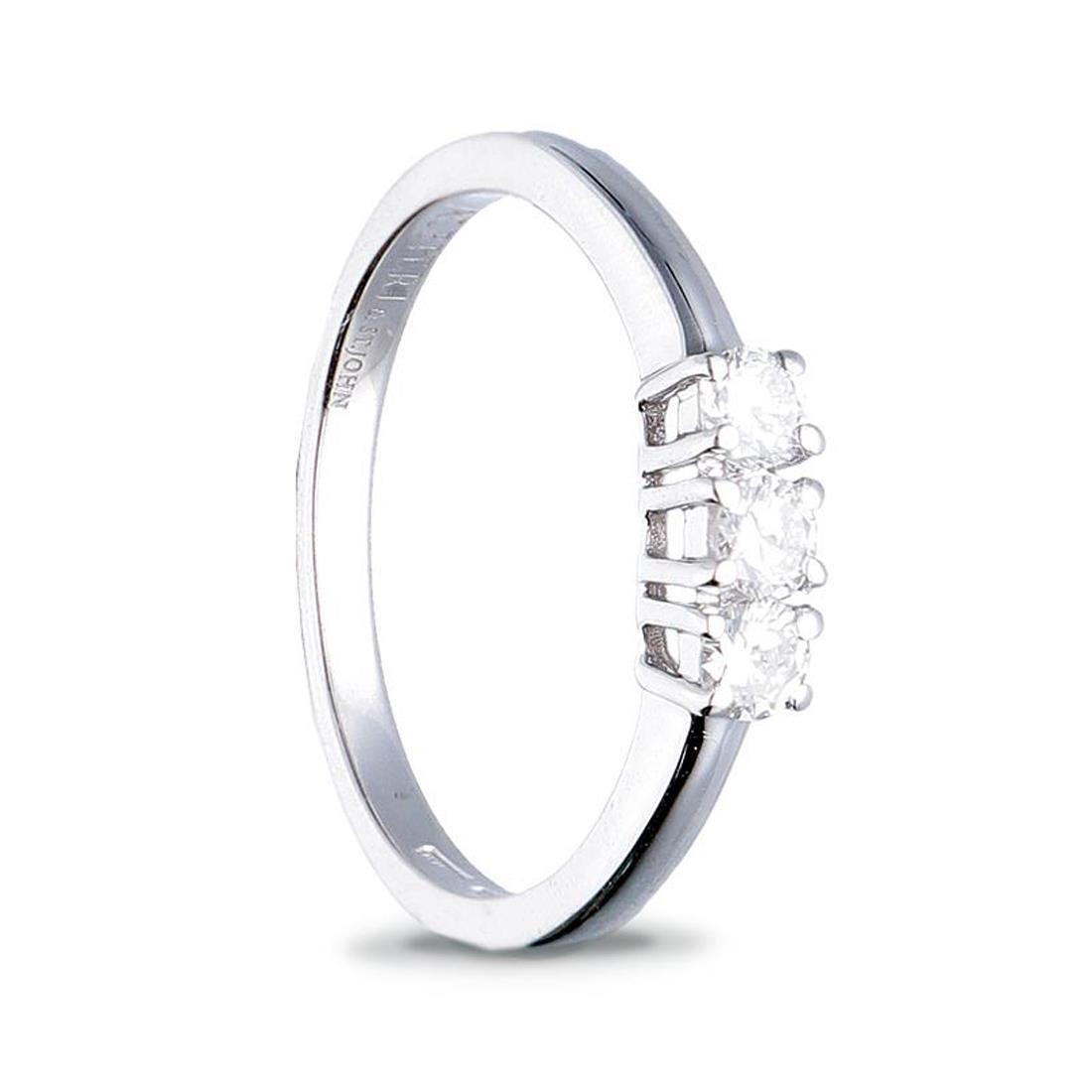 Anillo trilogía en oro blanco, diamantes ct. 0.45 - ALFIERI & ST. JOHN