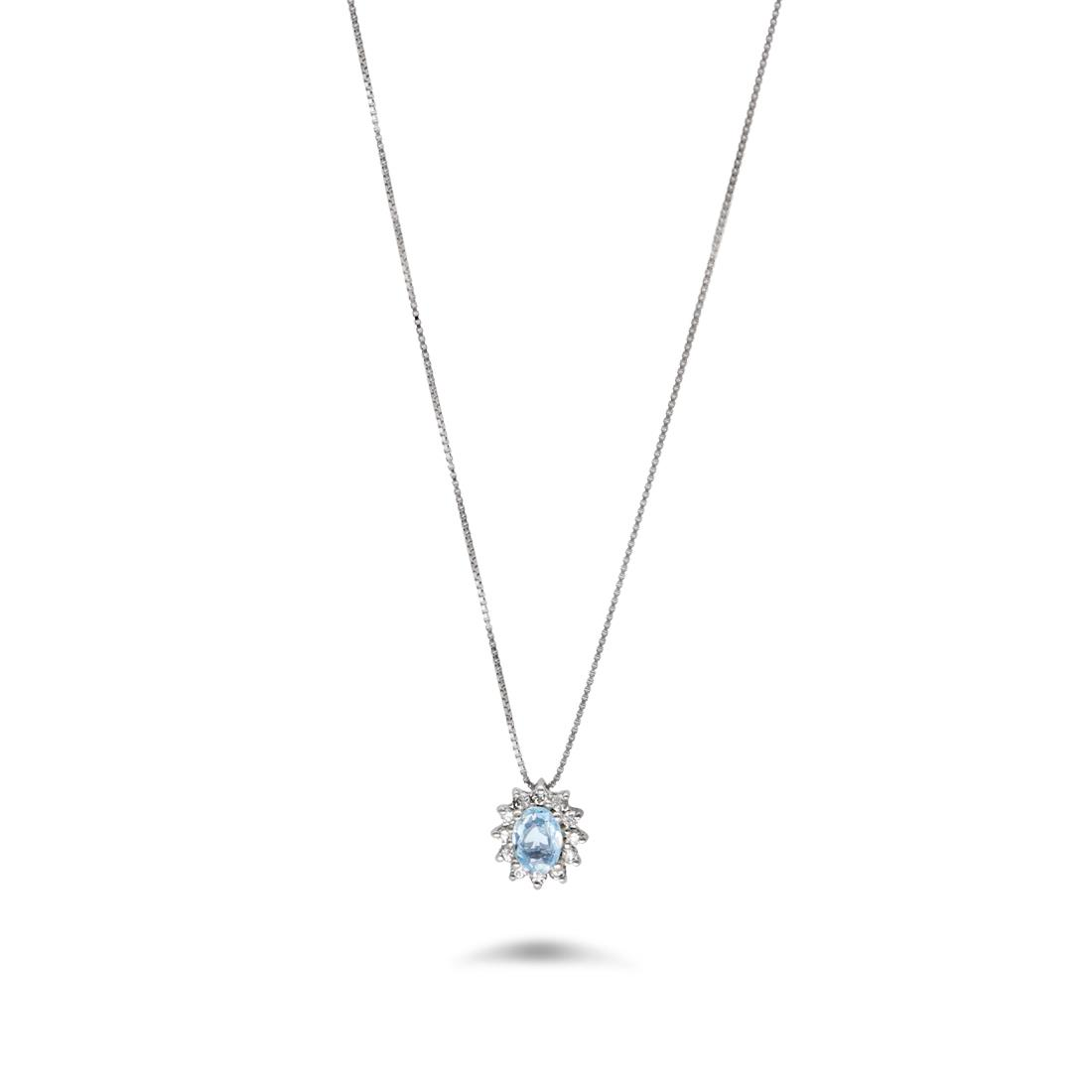 Collana con acquamarina e diamanti  - ORO&CO