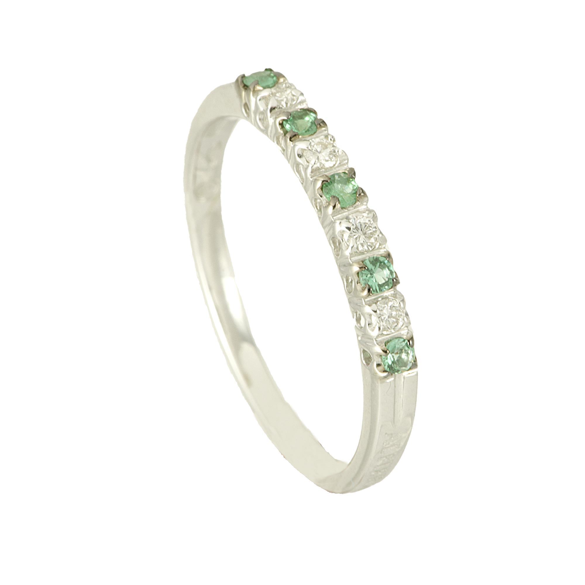Anello veretta in oro bianco con diamanti e smeraldi mis 12 - ALFIERI ST JOHN