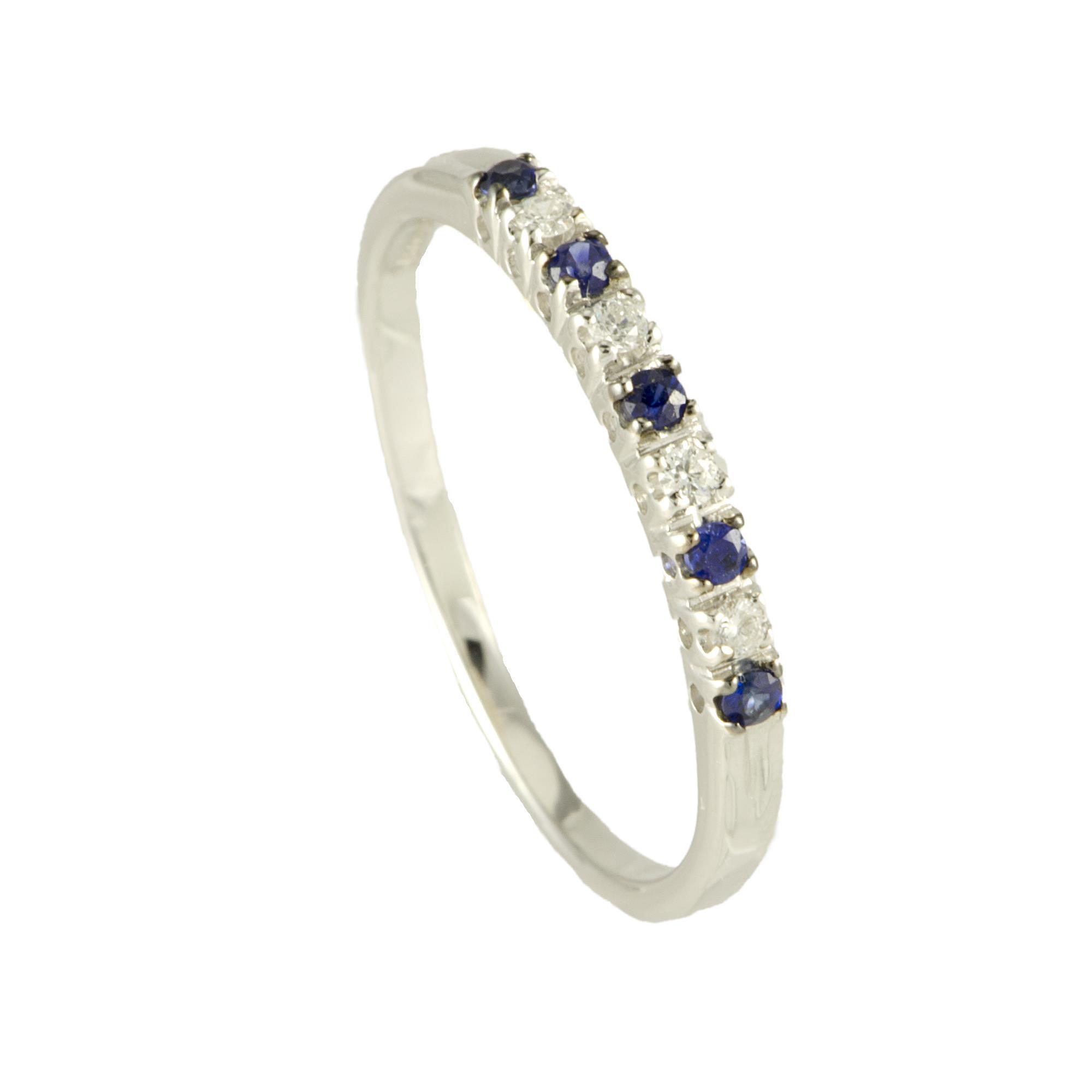Anello veretta in oro bianco con diamanti e zaffiri mis 12 - ALFIERI ST JOHN