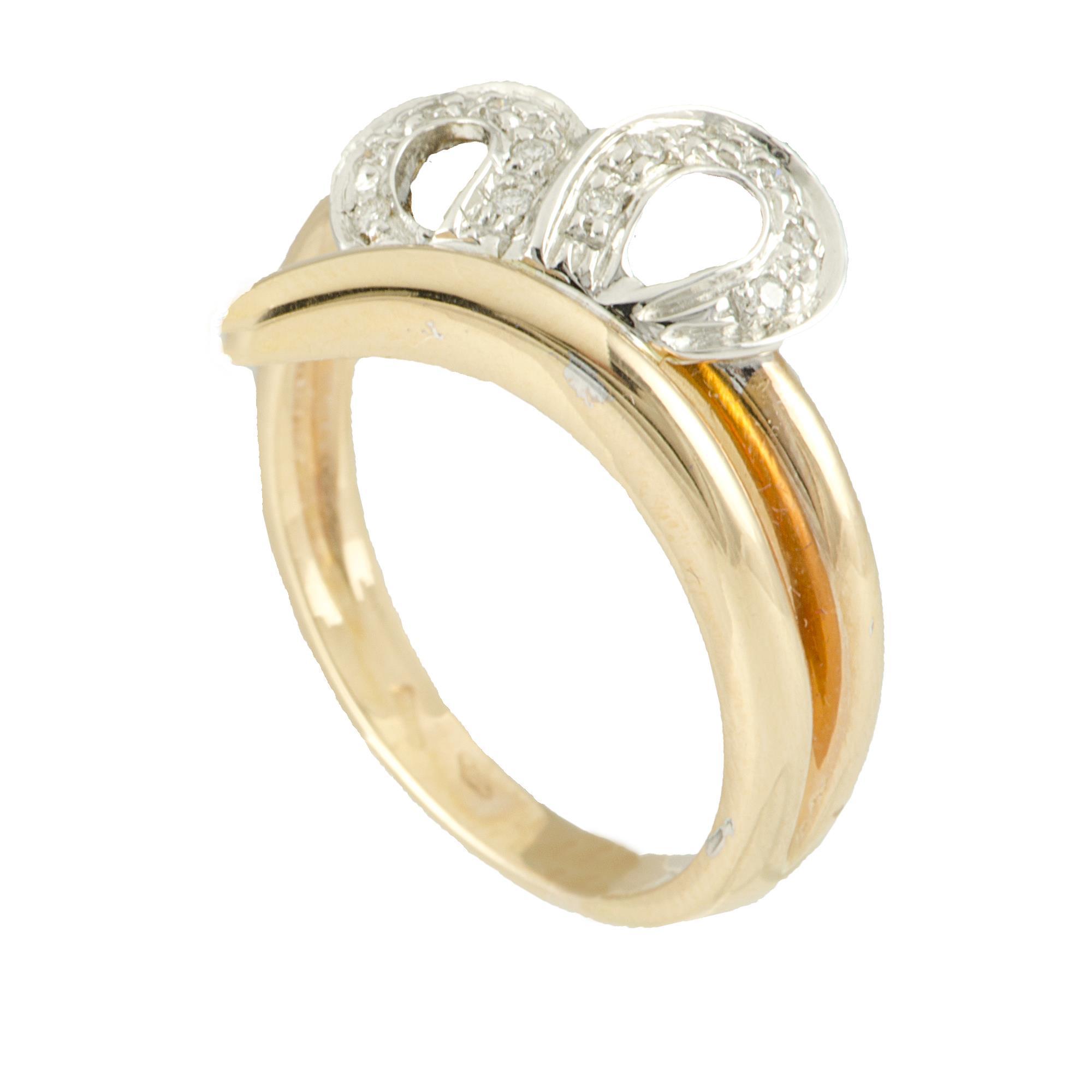 Anello in oro bianco e oro rosso con diamanti ct 0,08 - ALFIERI & ST. JOHN