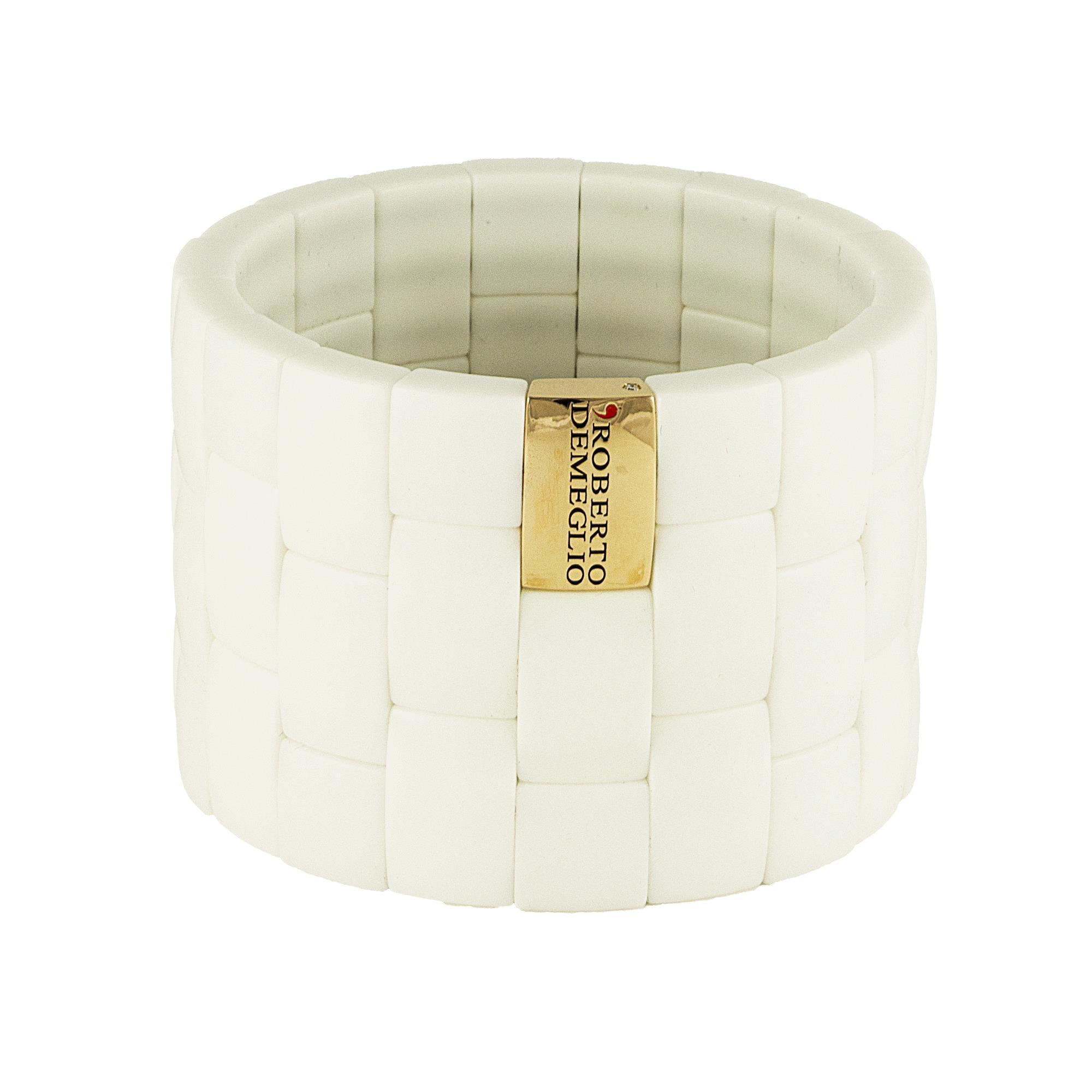Bracciale in ceramica bianca con logo in oro rosa - ROBERTO DEMEGLIO