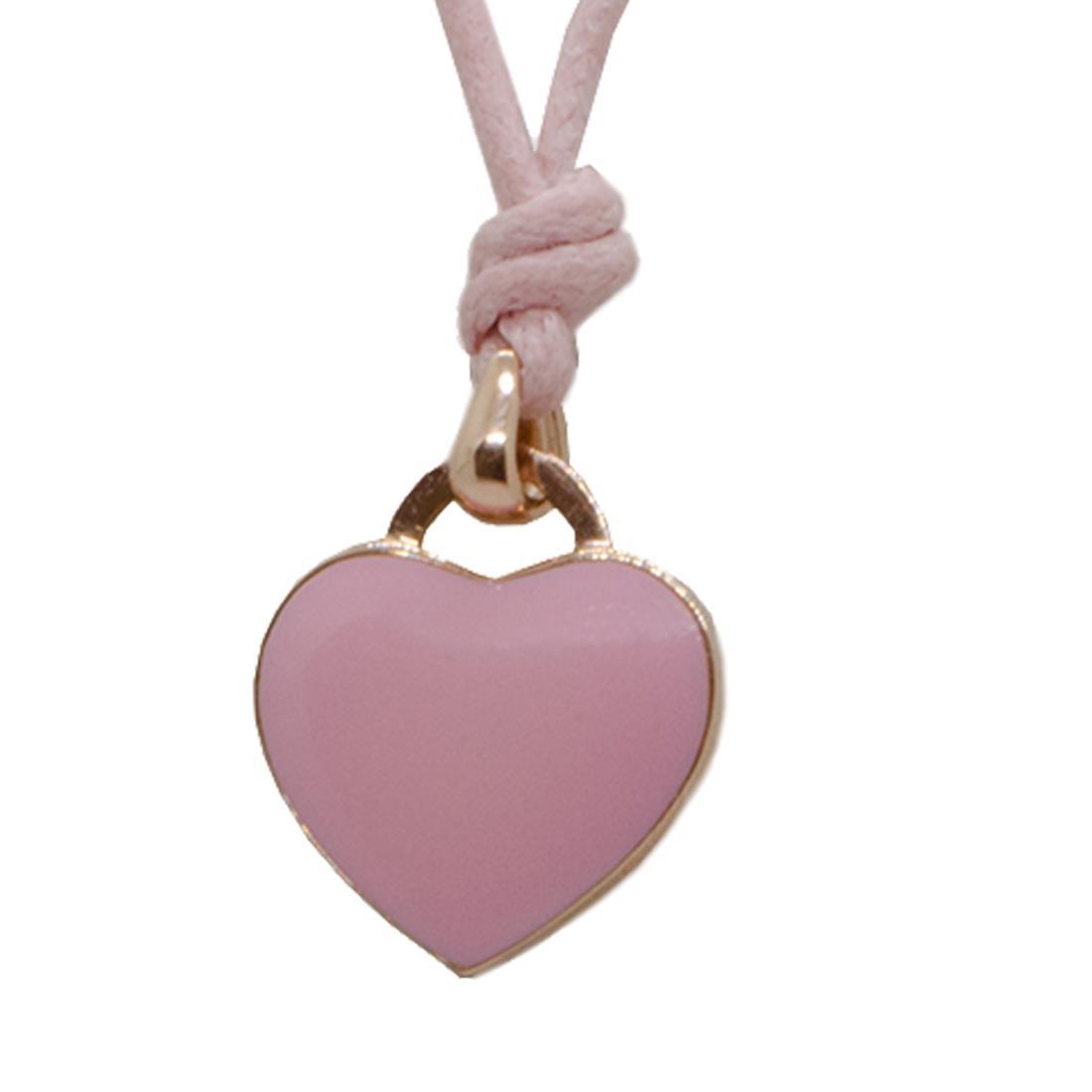 Collier cordino rosa con ciondolo cuore in oro rosa 9kt e smalto rosa - ALFIERI ST JOHN